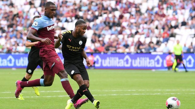 HAT-TRICK HERO : Raheem Sterling nets his third and City's fifth of the afternoon.