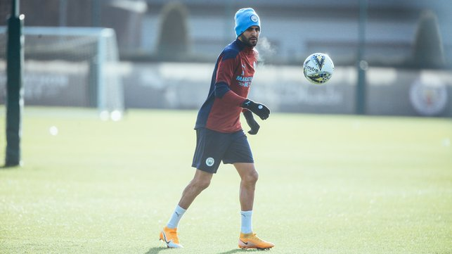 ON THE BALL: Riyad Mahrez was a study in focus as the squad got back to work