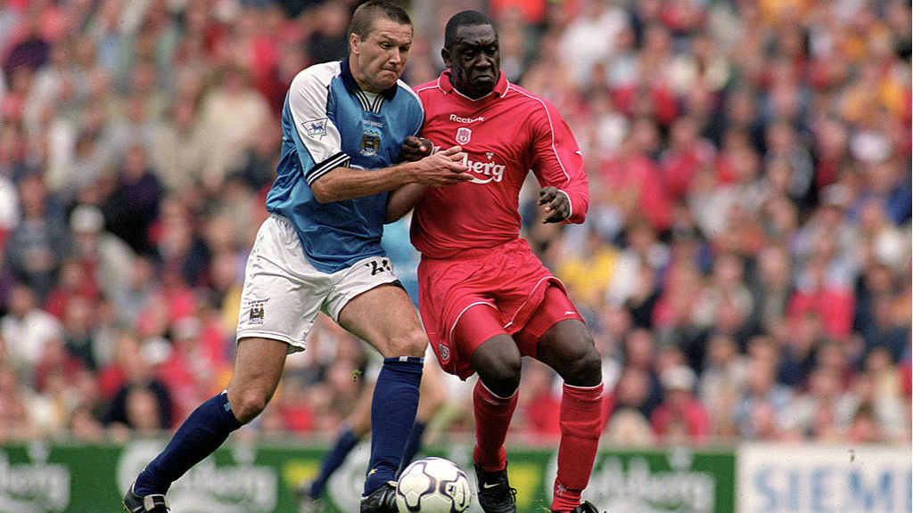 NO QUARTER: Steve Howey takes on Emile Heskey of Liverpool back in 2001