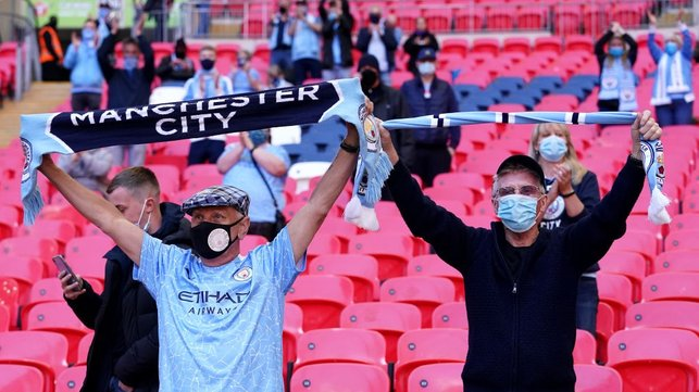 WELCOME BACK:  : City fans make themselves heard as the turnstiles open for 8,000 supporters again after over a year.