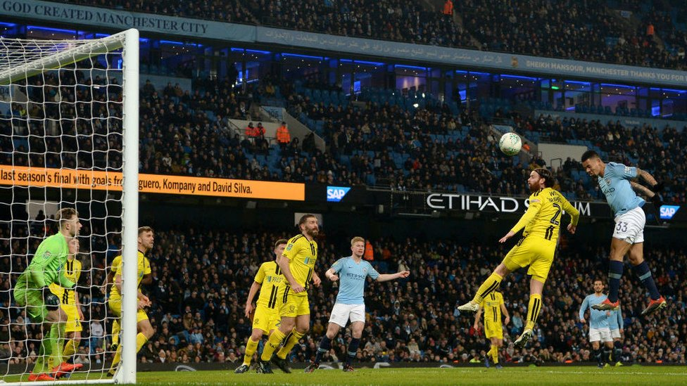 THREE CHEERS : Gabriel Jesus heads home to complete his hat-trick