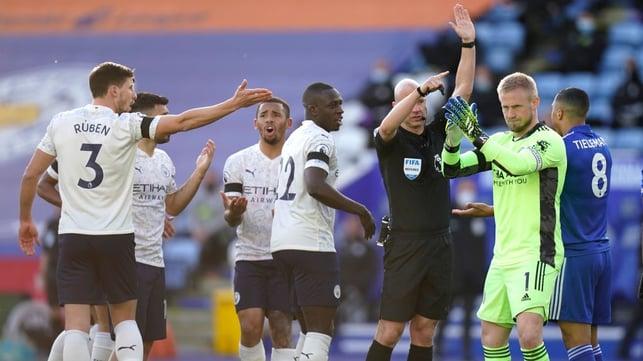 DENIED : Fernandinho's early goal is disallowed for offside.