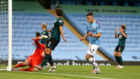 FIVE STAR: Foden celebrates netting his second and our fifth just after the hour mark.