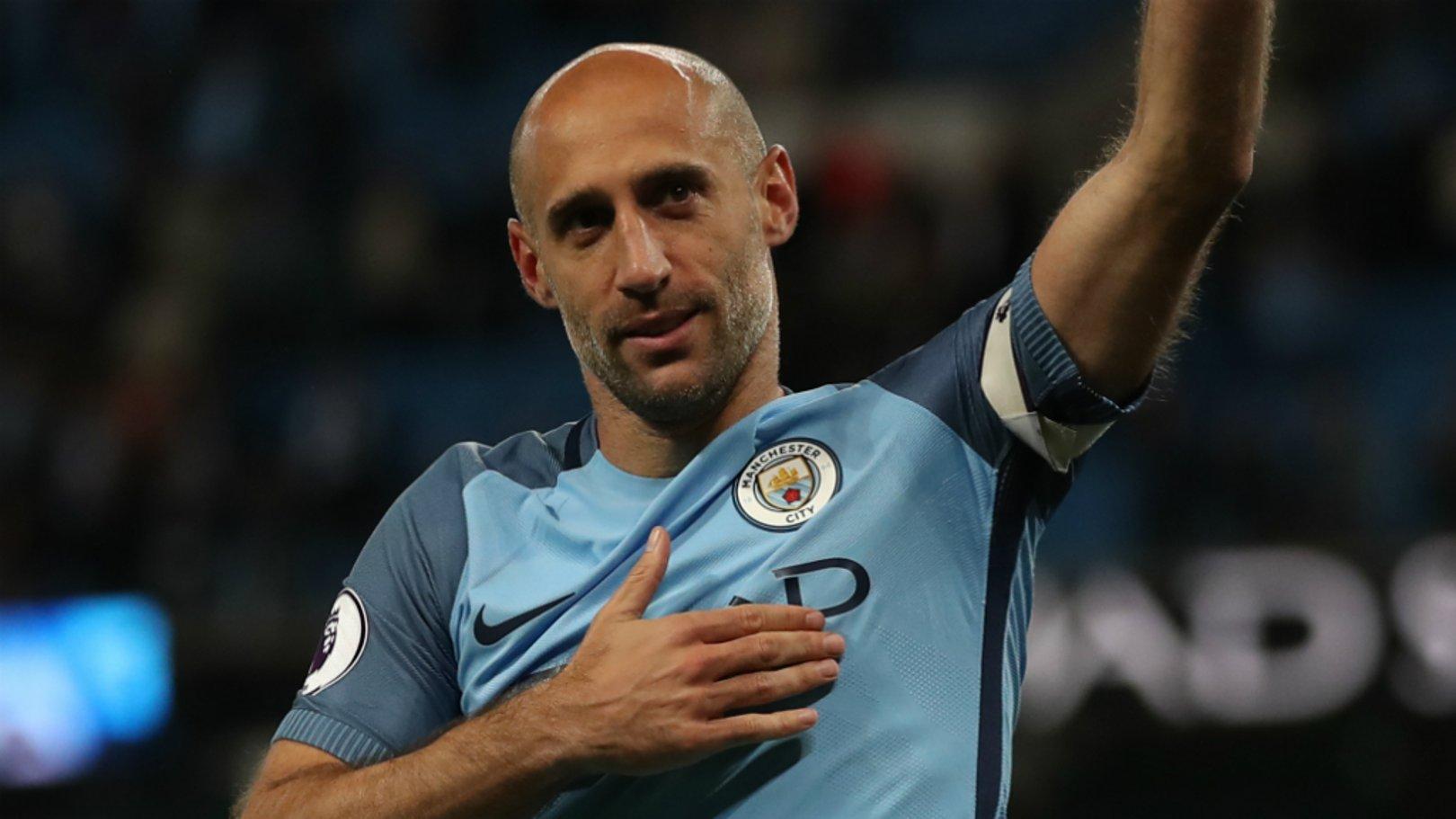 LIONHEART: Pablo Zabaleta bids farewell to the City fans