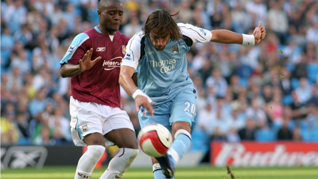 HAMMER TIME: Georgios Samaras fires home City's and his opening goal in our 2006 win over West Ham