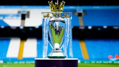 SPECIAL GUEST: The Premier League trophy arrives back home ahead of the clash with the Toffees.