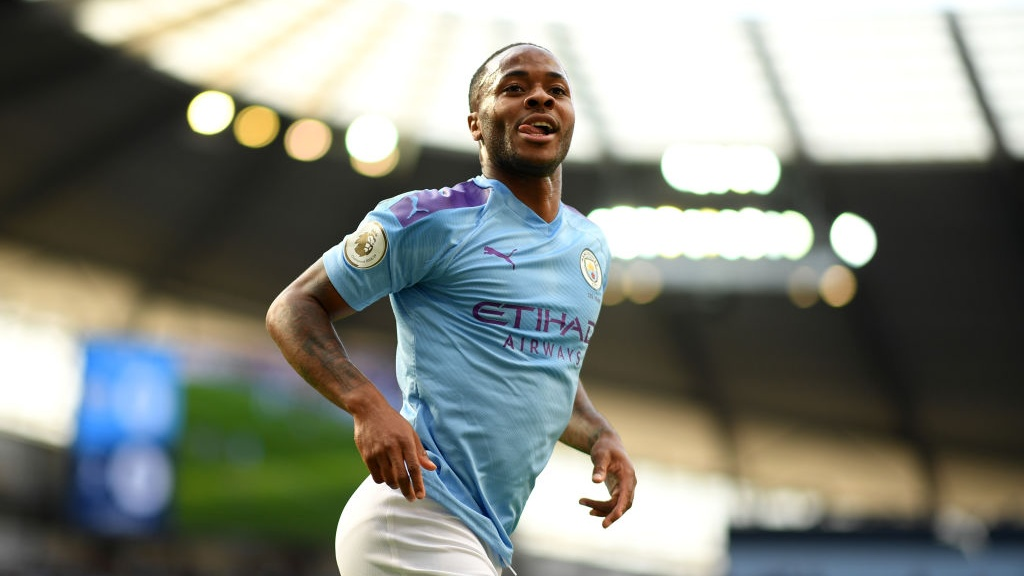 GOAL MACHINE : Raheem Sterling wheels away after netting his fifth goal of the season.