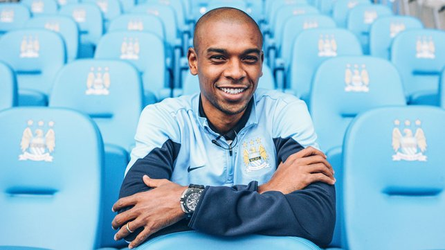 SHINING STAR : Our Brazilian midfield marvel couldn't contain his delight after completing his move to City