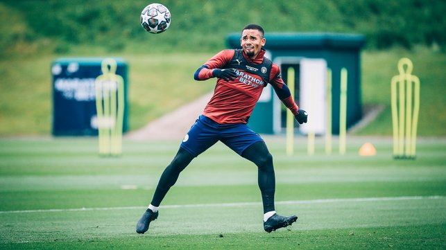 ON THE VOLLEY: Gabriel Jesus sorts his feet out ready for the strike