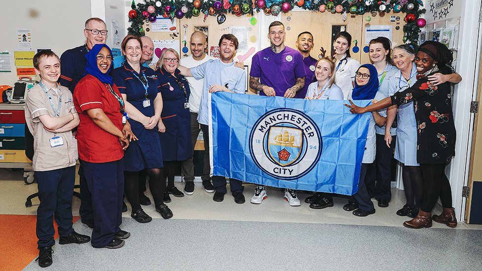 TEAM EFFORT : Pep, Ederson and Gabriel Jesus pay tribute to staff and volunteers at RMCH
