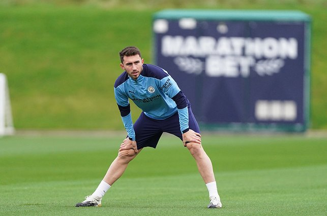 LIMBERING UP: It was great to see Aymeric Laporte back on the training field