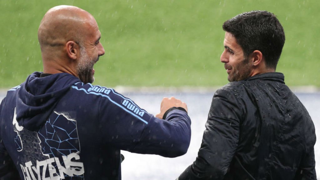 BEST OF RIVALS: Pep Guardiola and Arsenal counterpart Mikel Arteta