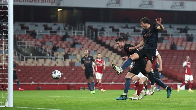 CHERRY ON TOP: Aymeric Laporte heads home a fourth