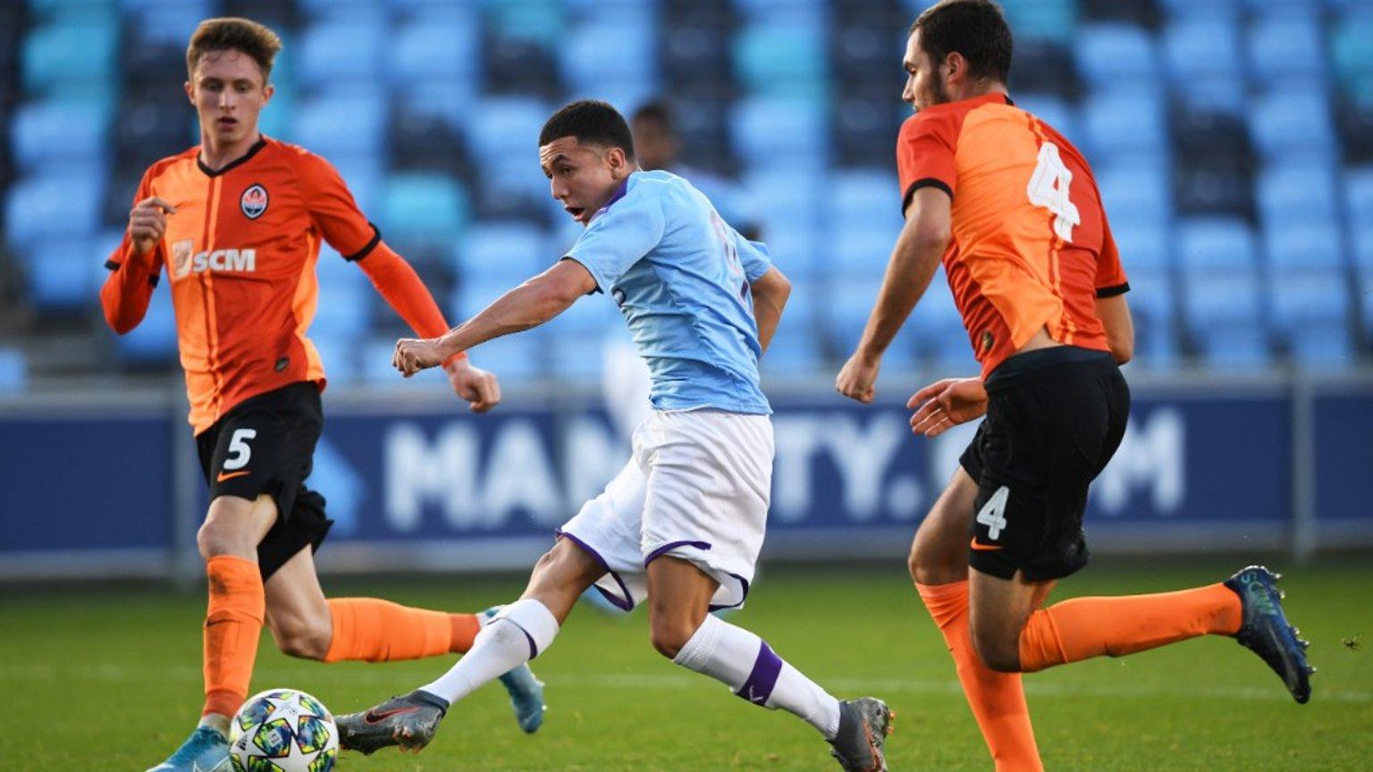 SLICK: Ian Poveda makes it 3-0 for City U19s against Shakhtar Donetsk.