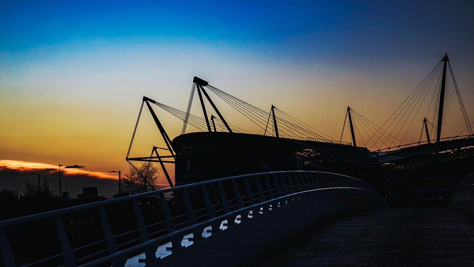 SUNSET SILHOUETTE: A wonderful backdrop frames the Etihad