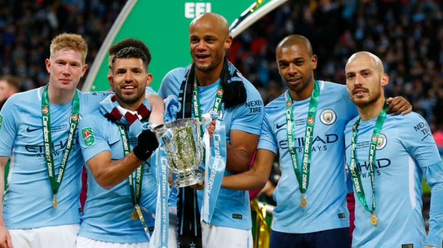 FAMOUS FIVE : Fernandinho celebrates our 2018 Carabao Cup win with some illustrious company!!