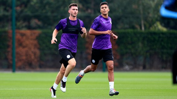 BLUES BROTHERS: Aymeric Laporte and new signing Rodri step up their fitness drills