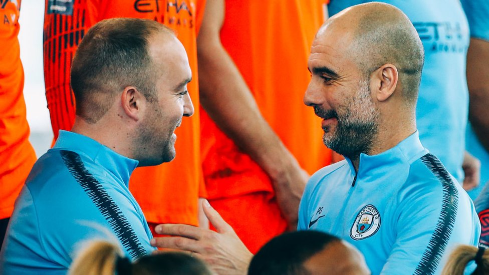 LEADING FIGURES : Managers Nick Cushing and Pep Guardiola