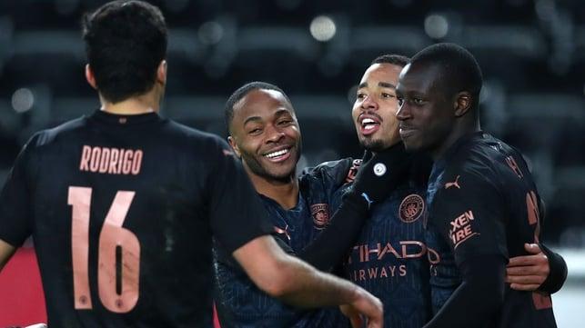 GOALS GALORE: The team go over to congratulation Gabriel Jesus