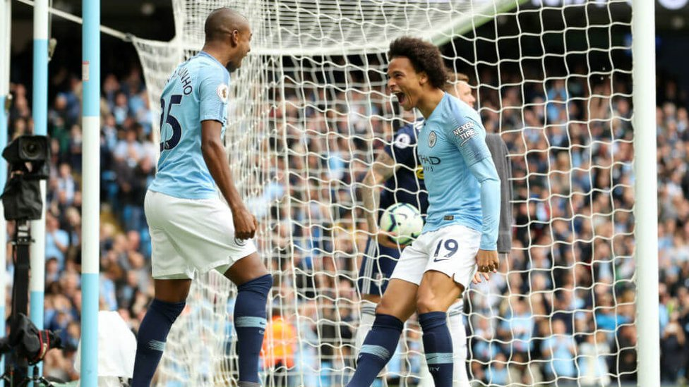 EARLY GOAL : Sane put City ahead after just two minutes