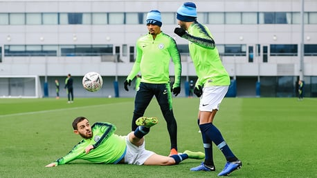 EYES HAVE IT: Bernardo demonstrates his magical ball-hovering powers under the gaze of Gabriel Jesus and Riyad Mahrez