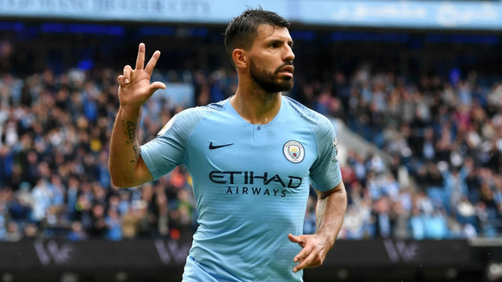 ACTION STATIONS: Sergio Aguero trained ahead of Manchester City's Champions League Group F opener against Lyon