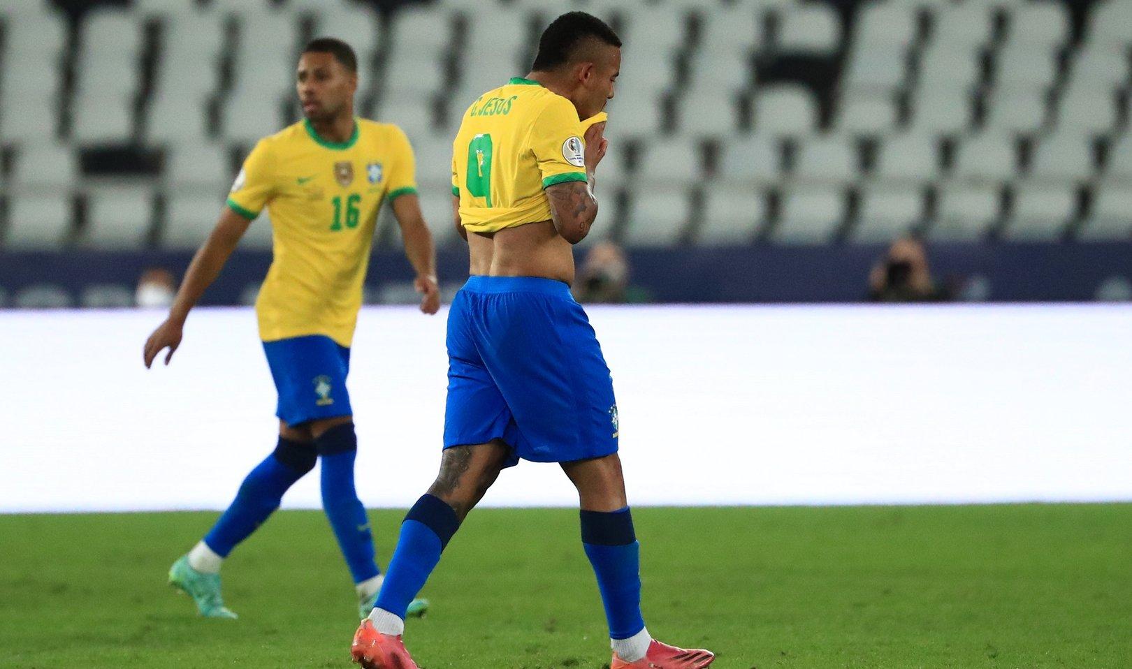 Gabriel Jesus shown straight red as Brazil book semi spot