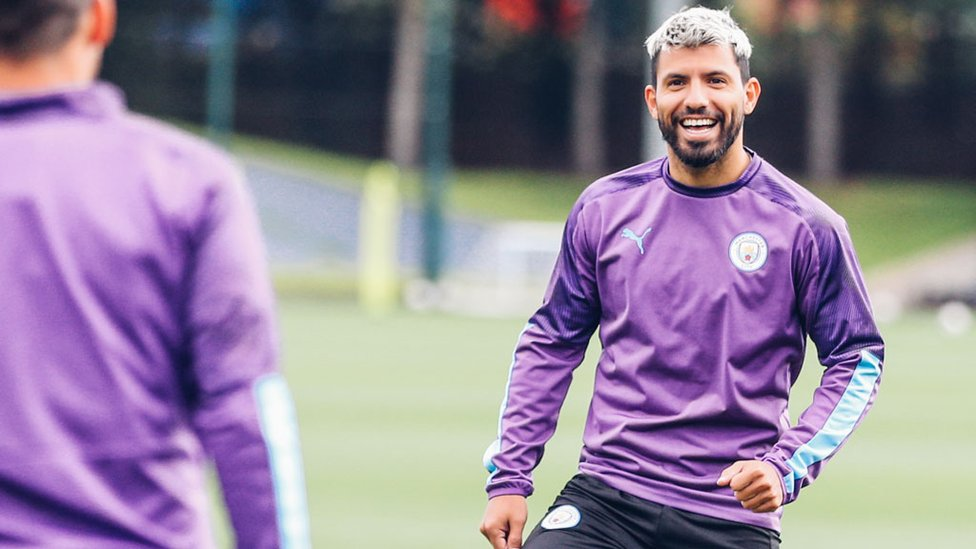 SMILE SERGIO : Our record goalscorer looks happy in his work