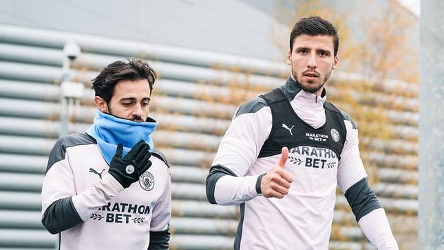PORT OF PLENTY: Bernardo Silva and Portuguese colleague Ruben Dias prepare for business