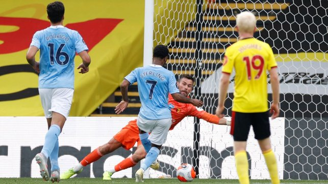 ON THE SPOT : Sterling taps in his second goal ten minutes later after his penalty was saved by Foster.