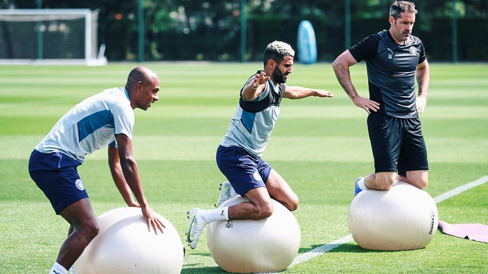 IN THE BALANCE: A slightly larger ball than the lads are used to!