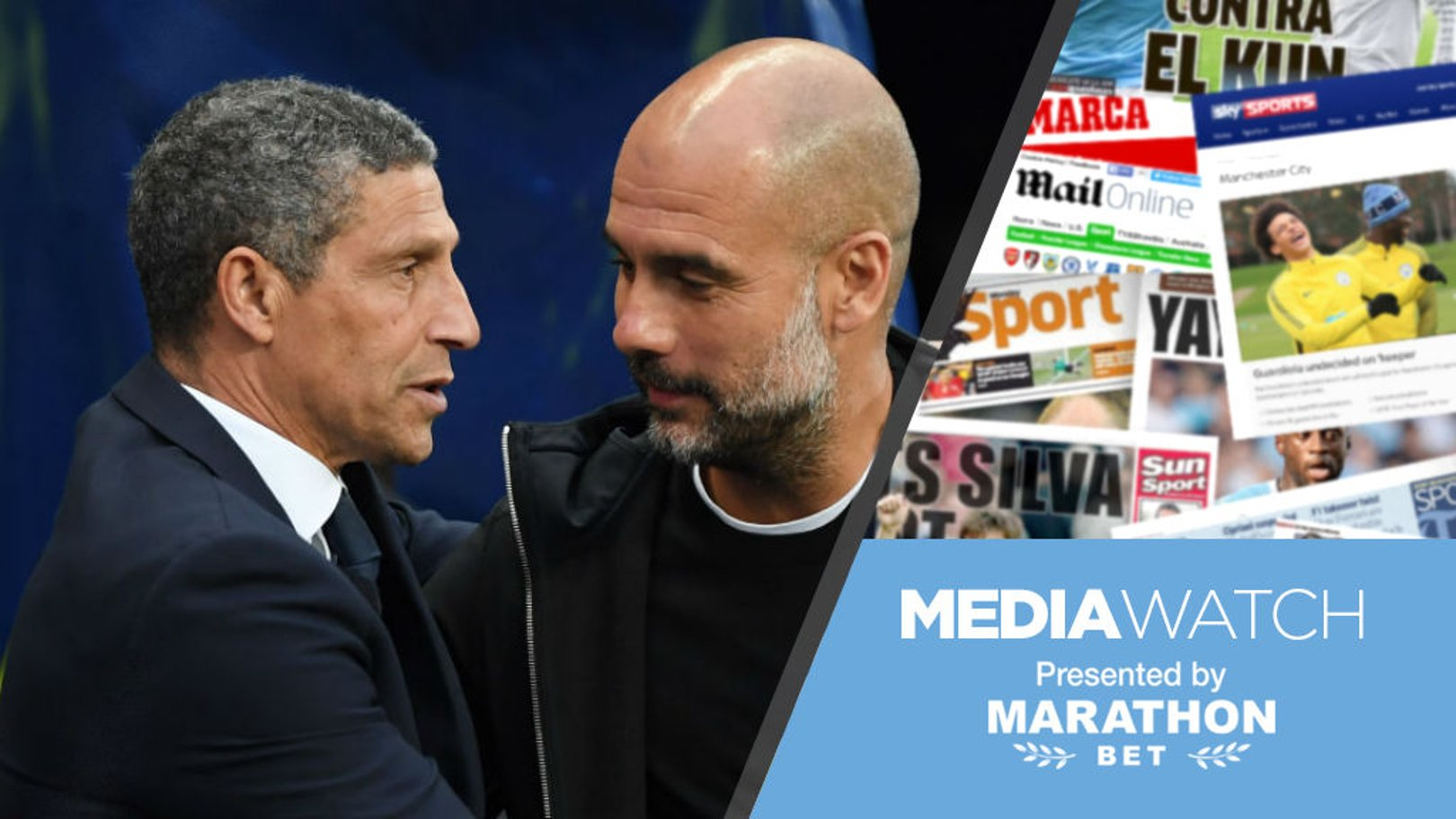 WARM WORDS: Brighton boss Chris Hughton has paid a special tribute to Pep Guardiola's Manchester City side