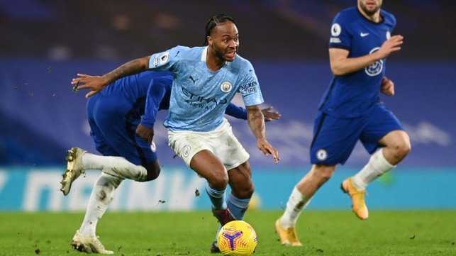 RAZ ON THE RUN: Raheem Sterling accelerates away from his man