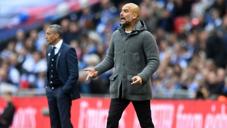 LEADING MAN: The boss urges City on at Wembley