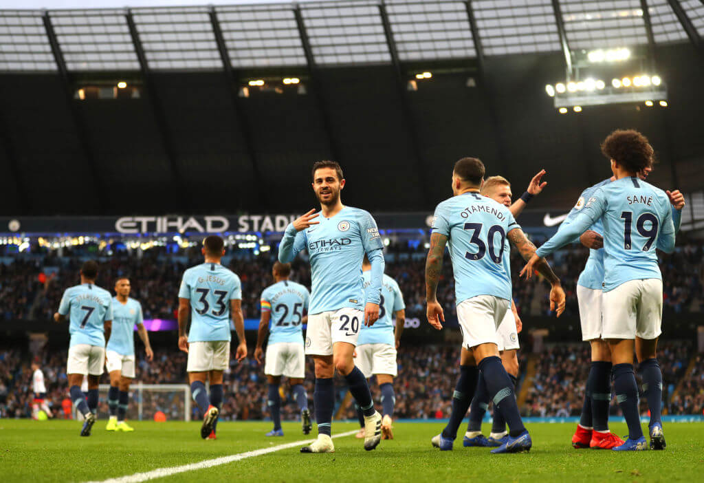 UP THE BLUES : The boys celebrate our opener