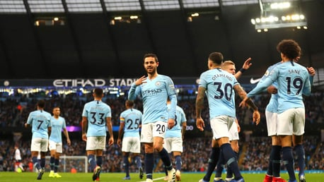 UP THE BLUES: The boys celebrate our opener