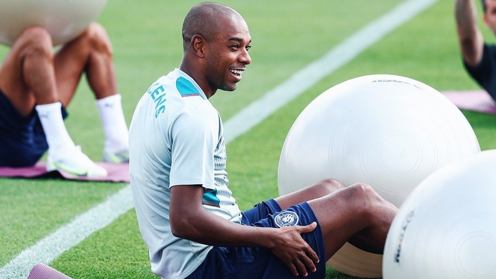 CAPTAIN FANTASTIC: Fernandinho shows off his pearly whites