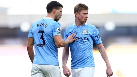 PROVIDER AND SCORER: Dias shows his appreciation to KDB!