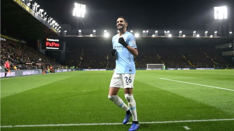 LIGHTING UP TIME: Riyad celebrates his goal in front of the travelling City fans