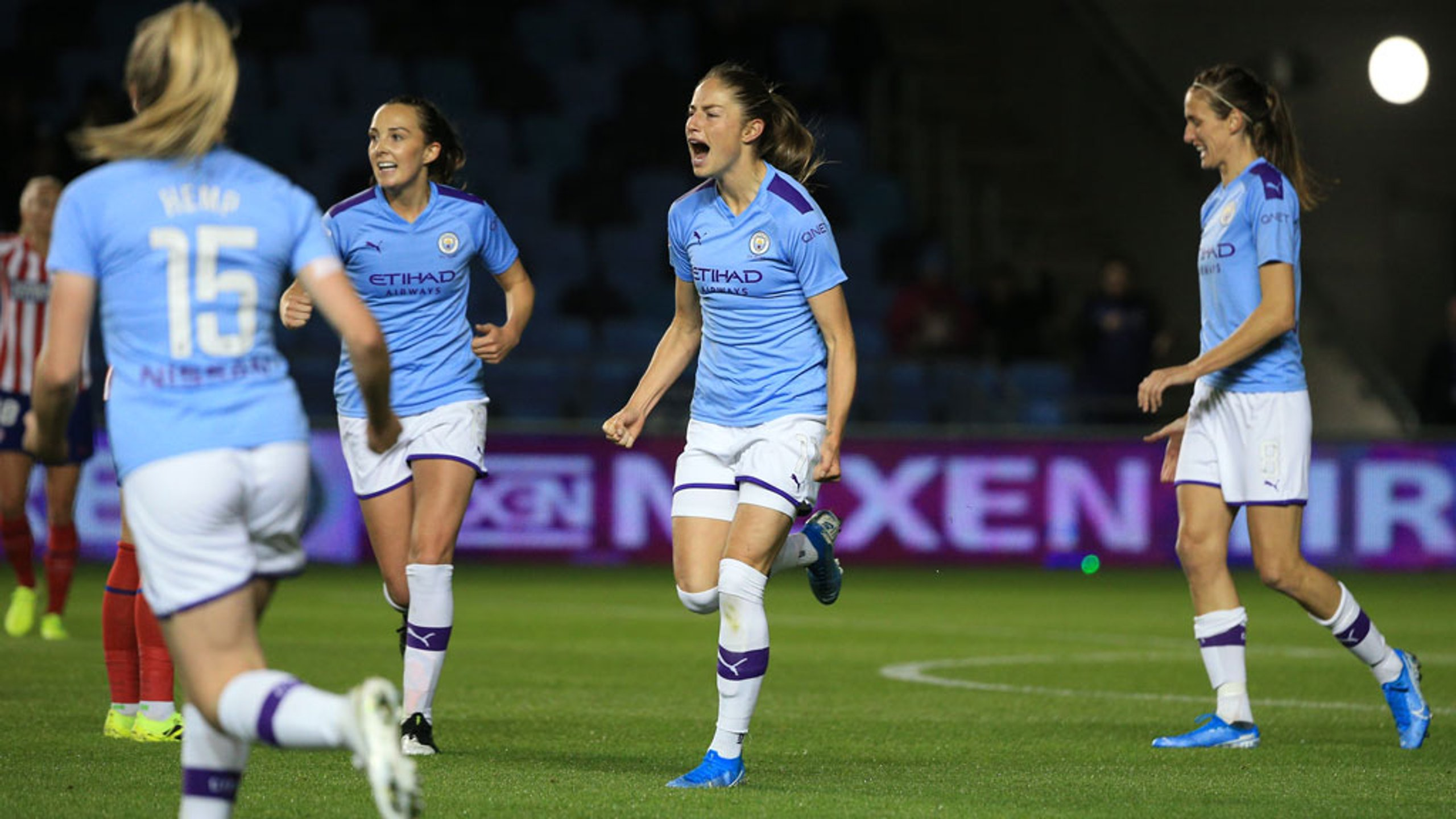 GOAL JANINE: Janine Beckie bagged her fifth goal of the season to open the scoring against Atletico