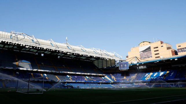 STAGE IS SET : The sun shines down on Stamford Bridge as kick-off approaches.
