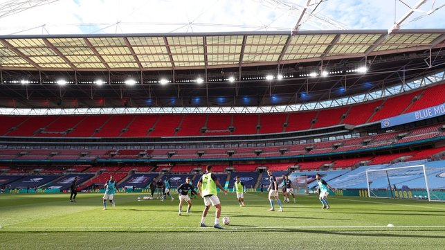LIMBERING UP: The lads get up to scratch ahead of kick off