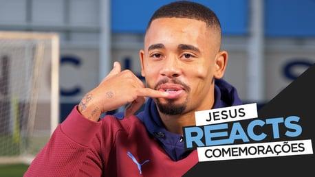 Jesus reage às celebrações dos gols!