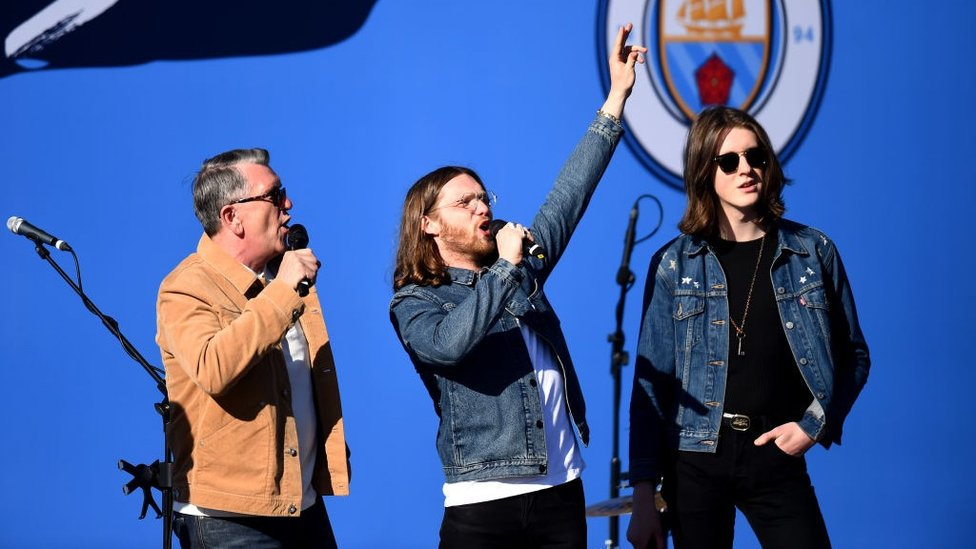 MUSICAL TWIST : Tom and Joe from Blossoms joined The Smith's Mike Joyce on stage before the players arrived.