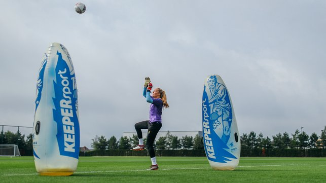 UP HIGH : Ellie Roebuck catches an aerial ball