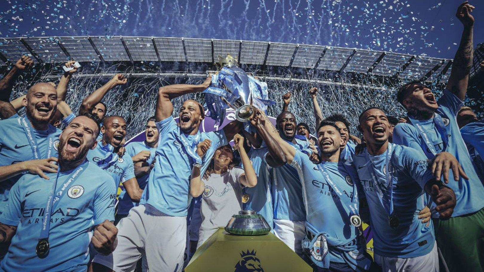 MEMORABLE YEAR: City lift the 2017/18 Premier League trophy