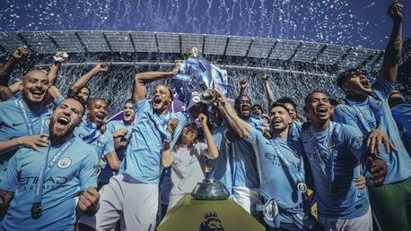 MEMORABLE YEAR: City lift the 2017/18 Premier League trophy