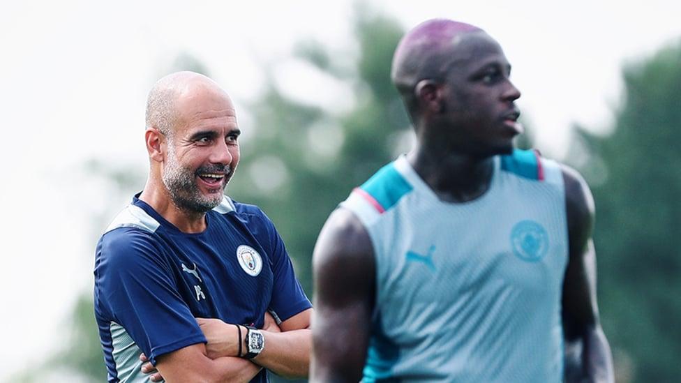 GUARDIOLA GRIN: The boss cracks a smile in the CFA sun