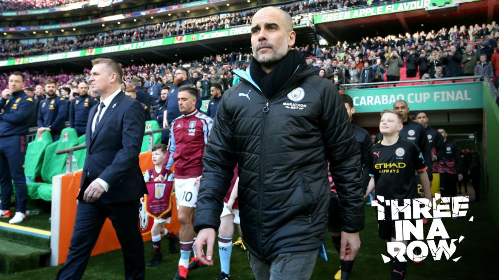 HERE WE GO: Pep leads his side out at Wembley